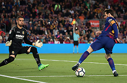 May 9, 2018 - Barcelona, Spain - Sergio Asenjo and Leo Messi during the match between FC Barcelona and Villarreal CF, played at the Camp Nou Stadium on 09th May 2018 in Barcelona, Spain.  Photo: Joan Valls/Urbanandsport /NurPhoto. (Credit Image: © Joan Valls/NurPhoto via ZUMA Press)