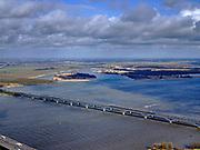 Nederland, Zuid-Holland, Hollands Diep, 25-02-2020; Hollandsch Diep, de grens tussen Brabant en Zuid-Holland met spoorbruggen: HSL-brug en de Moerdijkspoorbrug. In de voorgrond de brug voor het autoverkeer. Dordtsche Biesbosch in de achtergrond.<br /> Railwaybridges across Hollandsch Diep.<br /> <br /> luchtfoto (toeslag op standard tarieven);<br /> aerial photo (additional fee required)<br /> copyright © 2020 foto/photo Siebe Swart
