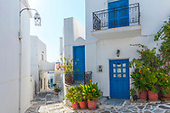 Lefkes, Paros, Greece - July 2021: Street Of Lefkes