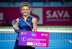 PORTOROZ, SLOVENIA - SEPTEMBER 19: Winner Jasmine Paolini of Italy posing at Trophy ceremony after playing Singles final during the WTA 250 Zavarovalnica Sava Portoroz at SRC Marina, on September 19, 2021 in Portoroz / Portorose, Slovenia. Photo by Vid Ponikvar / Sportida