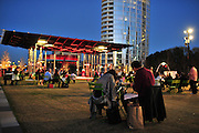 Visitors spend Valentines Day enjoying the weather and listening to Max Vontaine at Klyde Warren Park on Thursday, February 14, 2013 in Dallas, Texas. (Cooper Neill/The Dallas Morning News)