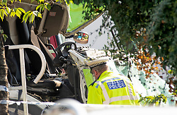 ©Licensed to London News Pictures 14/09/2020  <br /> Kidbrooke, UK. The green bin lorry cab, drivers seat. A bin lorry has crashed into multiple cars and a house in Kidbrooke, South East London. A number of people have been injured police, fire and ambulance are all on scene. credit:Grant Falvey/LNP