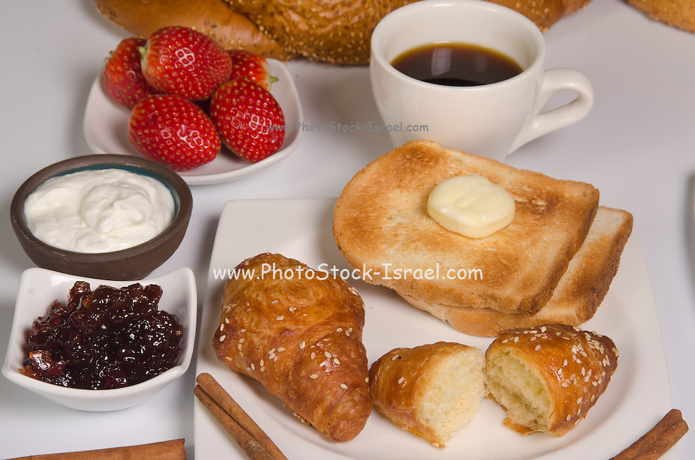 Breakfast with Croissant, toast, jam and butter