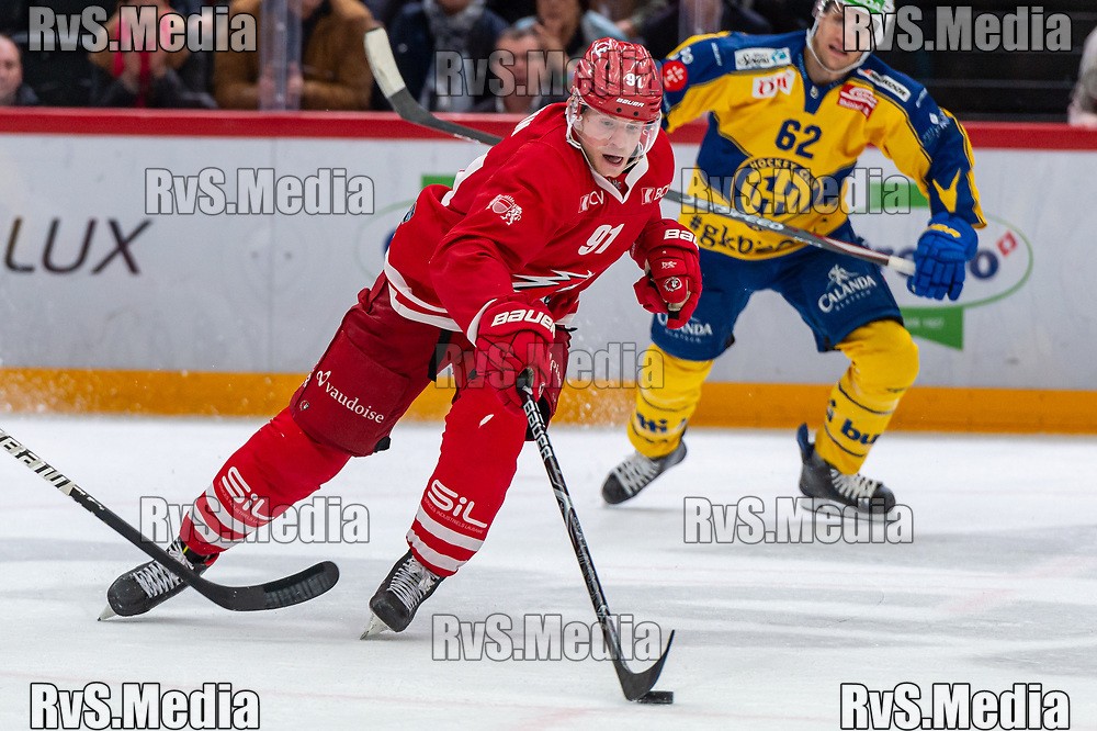 LAUSANNE, SWITZERLAND - NOVEMBER 05: #91 Joel Vermin of Lausanne HC in action during the Swiss National League game between Lausanne HC and HC Davos at Vaudoise Arena on November 5, 2019 in Lausanne, Switzerland. (Photo by Monika Majer/RvS.Media)
