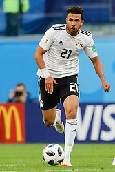 June 19, 2018 - Saint Petersburg, Russia - Trezeguet of Egypt national team during the 2018 FIFA World Cup Russia group A match between Russia and Egypt on June 19, 2018 at Saint Petersburg Stadium in Saint Petersburg, Russia. (Credit Image: © Mike Kireev/NurPhoto via ZUMA Press)