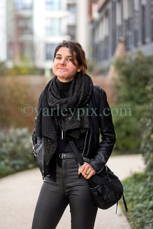 17 January 2019. Paris, France.<br /> Gaëlle Chevalier - survivor of the 2015 Bataclan Terror attack in Paris talks of her life as she continues to recover from the horrific injuries she sustained when she was shot in the face and arm with an AK-47 during the horrific attack. The 37 year old has lost count of the number of operations to recover her smile, she thinks it could be as many as 25 since the attack. <br /> Photo©; Charlie Varley/varleypix.com