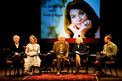 PRESS RELEASE<br /><br />Sunday 21 February, 5pm <br />NO FEE FOR REPRO;<br />Bob Geldof, Sinéad Cusack, Lisa Dwan, Peter Campion and Ruth McCabe on the Abbey stage. <br />PLEASE CREDIT LENSMEN<br />Reading the poetry of W.B. Yeats<br />in The Josephine Hart Poetry Hour<br /><br />17 February 2016<br />The Abbey Theatre is delighted to host The Josephine Hart Poetry Hour – great poetry, read by great actors.<br /><br />Pictured at the reading were;<br />Ruth McCabe (Philomena, My Left Foot)<br />Lisa Dwan (Beckett's Not I)<br />Bob Geldof<br />Sinéad Cusack (Our Few and Evil Days),<br />Peter Campion (Brooklyn, Love/Hate).<br /><br />This one off event celebrates the poetry of W.B. Yeats, featuring readings of his famous poems by musician and philanthropist Bob Geldof and acclaimed actors Sinéad Cusack (Our Few and Evil Days), Lisa Dwan (Beckett's Not I) and Peter Campion (Brooklyn, Love/Hate). Ruth McCabe (Philomena, My Left Foot) will act as narrator, providing illuminating introductions to each poem. This is the first of these poetry hours in almost a decade, and fittingly we celebrate the poetry of W.B Yeats on the Abbey stage.<br />About The Josephine Hart Poetry Hour: Josephine Hart (1942-2011) was born and raised in Mullingar before moving to London in her twenties, marrying Lord Maurice Saatchi in 1984. She became a well-known and much-loved theatre producer in the West End, producing the award-winning hits The House of Bernarda Alba and The Black Prince. She was also a best-selling author of six novels, including Damage which was adapted into a film with Juliette Binoche and Jeremy Irons. Josephine died suddenly in 2011, and the Dean of Westminster Abbey arranged a memorial poetry reading in Westminster Abbey to mark her death.<br />Josephine's passion for poetry led her to found The Josephine Hart Poetry Hour, which took London by storm in the 1990s and 2000s. These hugely popular poetry hours were presented at such celebrated venues as the British Library