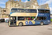 Double decker Stagecoach Gold bus in the railway Village, Swindon, Wiltshire, England, UK