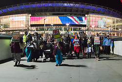 Amid high security measures, hundreds of Kashmiri protesters, supported by George Galloway, demonstrate outside Wembley Stadium ahead of an address to more than 60,000 Indian expats by Prime Minister Narendra Modi at a 'UK Welcomes Modi' reception. Modi, a Hindu and his BJP party are accused of a wide range of human rights abuses against religious and ethnic minorities in India. PICTURED: XXXXXXXXXX ©2015 Paul Davey. All rights reserved.   // Licensing: Please contact Paul Davey paul@pauldaveycreative.co.uk Tel +44 (0) 7966 016 296 or +44 (0) 208 969 6875.