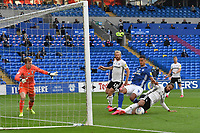 Football - 2019 / 2020 Championship - Play-off semi-final - 1st leg - Cardiff City vs Fulham<br /> <br /> Michael Hector of Fulham defends  Robert Glatzel of Cardiff City on the attack in the box<br /> in a match played with no crowd due to Covid 19 coronavirus emergency regulations, in an almost empty ground, at the Cardiff City Stadium<br /> <br /> COLORSPORT/WINSTON BYNORTH