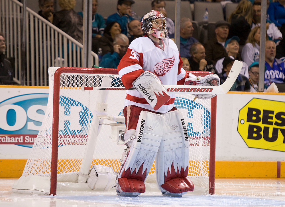 April 29, 2010; San Jose, CA, USA; Detroit Red Wings goaltender Jimmy Howard (35) looks up at the scoreboard during the second period in game one of the western conference semifinals of the 2010 Stanley Cup Playoffs against the San Jose Sharks at HP Pavilion.  San Jose defeated Detroit 4-3. Mandatory Credit: Jason O. Watson / US PRESSWIRE