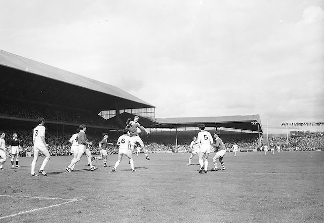 Cork and Sligo players both jumping for the ball during the All Ireland Minor Gaelic Football Final Sligo v. Cork in Croke Park on the 22nd September 1968. Cork 3-5, Sligo 1-10.