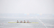 Shunyi, CHINA.  Heat of the Men's Quads, USA. M4X,    Bow, Matthew HUGHES, Sam STITT, Jamei SCHROEDER and Scott GAULT, move away from the start, at the 2008 Olympic Regatta, Shunyi Rowing Course. Sunday 10.08.2008  [Mandatory Credit: Peter SPURRIER, Intersport Images]
