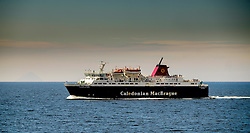 """The Caledonian MacBrayne ferry """"Caledonian Isles"""" crossing the Firth of Clyde between Arran and the Scottish mainland.<br /> <br /> (c) Andrew Wilson   Edinburgh Elite media"""