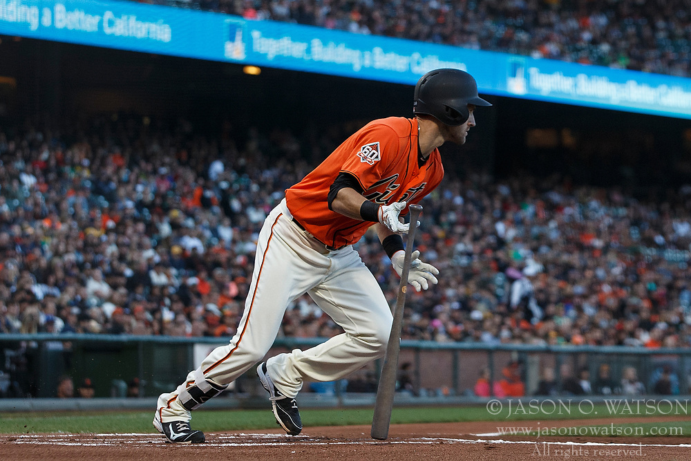 SAN FRANCISCO, CA - JULY 13: Steven Duggar #6 of the San Francisco Giants at bat against the Oakland Athletics during the first inning at AT&T Park on July 13, 2018 in San Francisco, California. The San Francisco Giants defeated the Oakland Athletics 7-1. (Photo by Jason O. Watson/Getty Images) *** Local Caption *** Steven Duggar