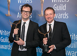 February 17, 2019 - Los Angeles, California, United States of America - Bill Hader (L) and Alec Berg, winners of Episodic Comedy, pose in the press room of the 2019 Writers Guild Awards at the Beverly Hilton Hotel on Sunday February 17, 2019 in Beverly Hills, California. JAVIER ROJAS/PI (Credit Image: © Prensa Internacional via ZUMA Wire)