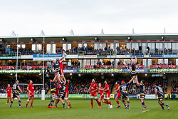 Bristol Rugby Lock Mark Sorenson wins a lineout - Photo mandatory by-line: Rogan Thomson/JMP - 07966 386802 - 27/05/2015 - SPORT - Rugby Union - Worcester, England - Sixways Stadium - Worcester Warriors v Bristol Rugby - Greene King IPA Championship Play-Off Final 2nd Leg.