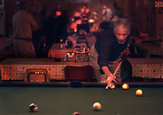 Actor Morgan Freeman plays pool at the Ground Zero Blues Club in Clarksdale, MS.