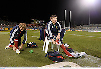 17 June 2013; Owen Farrell and Billy Twelvetrees, left, British & Irish Lions, during kickers practice ahead of their game against Brumbies on Tuesday. British & Irish Lions Tour 2013, Kickers Practice,  Canberra Stadium, Bruce, Canberra, Australia. Picture credit: Stephen McCarthy / SPORTSFILE