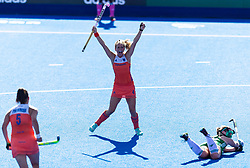 Netherland's Kitty van Male celebrates scoring their third goal during the Vitality Women's Hockey World Cup Final at The Lee Valley Hockey and Tennis Centre, London. PRESS ASSOCIATION Photo, Picture date: Sunday August 5, 2018. Photo credit should read: Paul Harding/PA Wire