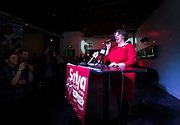 Sayta Rhodes-Conway celebrates her victory over incumbent Paul Soglin during the Madison Mayoral Election watch party at Prism Dance Club in Madison, WI on April 2, 2019.