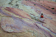 Hiker in Valley of Fire State Park, Mojave Desert, Nevada