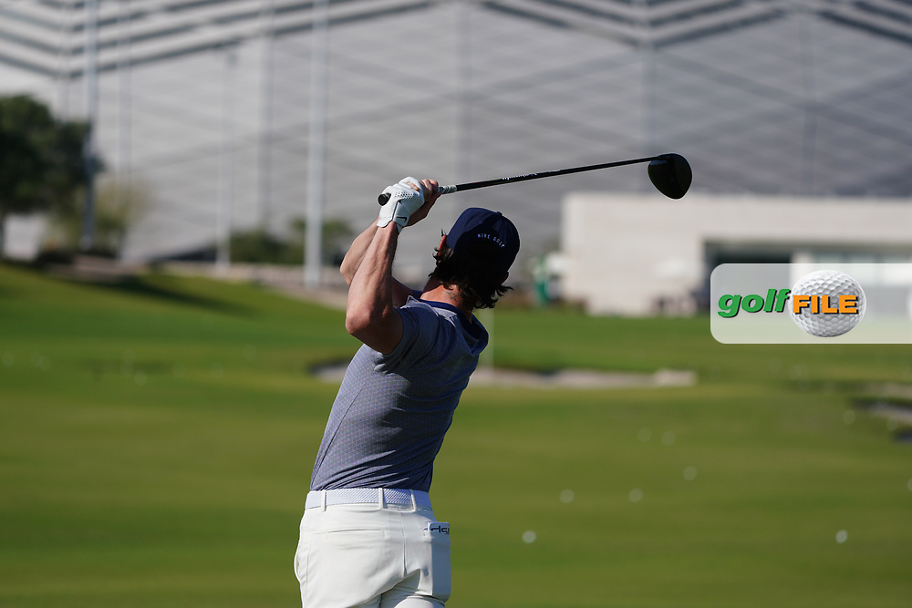 Kristoffer Broberg (SWE) on the driving range during the Preview of the Commercial Bank Qatar Masters 2020 at the Education City Golf Club, Doha, Qatar . 03/03/2020<br /> Picture: Golffile | Thos Caffrey<br /> <br /> <br /> All photo usage must carry mandatory copyright credit (© Golffile | Thos Caffrey)