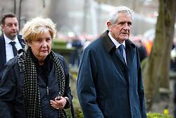 Retired footballer Norman Hunter arrives at the funeral service for Gordon Banks at Stoke Minster.