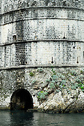 Section of wall, with sea tunnel, Fortress Bokar, Dubrovnik old town, Croatia