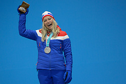 February 15, 2018 - Pyeongchang, South Korea - RAGNHILD MOWINCKEL of Norway celebrates getting the silver medal for the Ladies' Giant Slalom event in the PyeongChang Olympic games. (Credit Image: © Christopher Levy via ZUMA Wire)