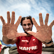 Leg 02, Lisbon to Cape Town, day 12, on board MAPFRE, Blair Tuke's hands after 12 days of leg 2, we will see how they arrive to Cape Town. Photo by Ugo Fonolla/Volvo Ocean Race. 16 November, 2017