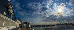 An iPhone6 panoramic image from the ship MSC Musica, in the port at Abu Dhabi. Images from the MSC Musica cruise to the Persian Gulf, visiting Abu Dhabi, Khor al Fakkan, Khasab, Muscat, and Dubai, traveling from 13/12/2015 to 20/12/2015.