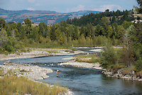 A fisherman casts along the banks of the Gros Ventre River on a sunny August day in Grand Teton National Park.