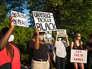 01 JUNE 2020 - DES MOINES, IOWA: People at a rally to honor George Floyd at the Iowa State Capitol Monday. About 1,000 people gathered in front of the Iowa State Capitol in Des Moines Monday evening for a rally calling for racial justice. The rally was one week after George Floyd, an unarmed black man, was killed by a Minneapolis police officer who knelt on Floyd's back for more than eight minutes. There were protests  in Des Moines all weekend against Floyd's killing. There was some violence and some people have been arrested but the protests in Des Moines haven't been as serious as protests in other cities.         PHOTO BY JACK KURTZ