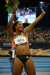 KARLSRUHE, Feb. 4, 2018  Sharika Nelvis (1st R) of the United States celebrates after Women's 60m Hurdles final of the 2018 IAAF World Indoor Tour in Karlsruhe, Germany, on Feb. 3, 2018. Sharika Nelvis claimed the title with 7.80 seconds. (Credit Image: © Luo Huanhuan/Xinhua via ZUMA Wire)