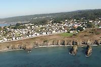 Aerial views of Mendocino Village on the Mendocino Coast