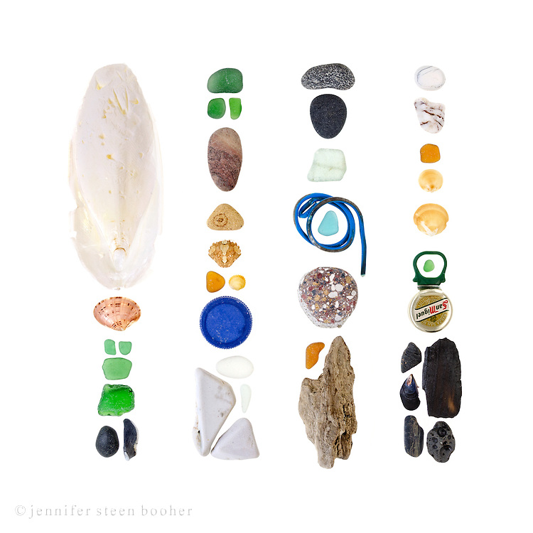 Cuttlefish bone (probably Sepia officinalis), clam shell (possibly Callista chione), sea glass, basalt beach stone, shell fragment, various unidentified beach stones (that might include marble and schist), clam shells (unidentified species), Green Crab shell (Carcinus maenas), plastic bottle top, plastic-coated wire, driftwood, metal bottle cap with pull-tab, charred wood, and mussel shell (probably Mytilus galloprovincialis).<br /> <br /> http://jenniferbooher.com/wp/platja-barceloneta-barcelona-spain-may-18-2014-barcelona-beachcombing-series-no-1/