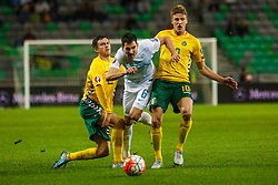 Branko Ilic of Slovenia and Vykintas Slivka of Lithuania during the EURO 2016 Qualifier Group E match between Slovenia and Lithuania, on October 9, 2015 in SRC Stozice, Ljubljana Slovenia. Photo by Grega Valancic / Sportida