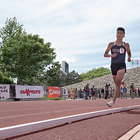 Kirtland Central senior Kashon Harrison, finished first in the 3200 meter race. The NMAA 4A State Track competition was held at the UNM Track & Field Complex in Albuquerque on Friday.