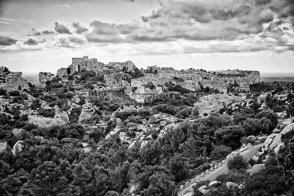 Black and white view of the  picturesque hilltop villages hilltop of Les Baux, France.