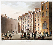 Inner court, Fleet Prison, London. Prisoners playing Fives and Skittles, and socialising. Prison for debt and contempt of court. From 'The Microcosm of London',  Ackermann, London, 1808-11, illustrated by Pugin and Rowlandson. Aquatint