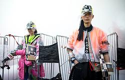 Models during the Michiko Koshino London Fashion Week Men's AW18 presentation, held at Hollybush Gardens, London.
