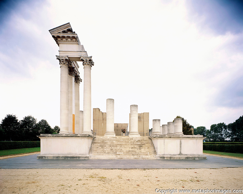 Roman Temple, Germany, 2004.<br /> A Roman temple with reconstructed elements, which highlight the scale and design of ancient history.<br /> Wastelands is a journey into abandoned and transient spaces in Australia and Europe. Over a number of years I've travelled with a large format camera to record some of the unusual ways that buildings decline, and the more unusual ways that space is reordered. <br /> <br /> A common practice is to transform abandoned industrial sites into modern centres of consumption. Old industrial centres often find new life as shopping centres. But family fun parks in abandoned nuclear power stations and the prospect of a European wilderness in Chernobyl reveal that landscape is never a finished project, nor what we always expect.<br /> <br /> Large format photography has had a long association with architecture and landscape. It expands detail and corrects perspective, often recording more than we can actually see, compelling us to look longer.