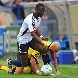 TELFORD COPYRIGHT MIKE SHERIDAN 13/10/2018 - Daniel Udoh of AFC Telford battles for the ball with Andy Teague during the Vanarama National League North fixture between AFC Telford United and Chorley