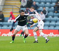 Dundee's Marcus Haber and Ross County's Marcus Fraser. half time : Dundee 0 v 1 Ross County, SPFL Ladbrokes Premiership played 13/5/2017 at Dens Park.
