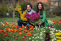 © licensed to London News Pictures. London, UK 15/04/2013. Diarmuid Gavin (left) and Rachel de Thame launching National Gardening Week at Victoria Tower Park Gardens as they finish planting an 8m by 4m union jack logo made of flowers. Photo credit: Tolga Akmen/LNP