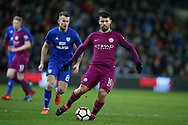 Sergio Aguero of Manchester city in action.The Emirates FA Cup, 4th round match, Cardiff city v Manchester City at the Cardiff City Stadium in Cardiff, South Wales on Sunday 28th January 2018.<br /> pic by Andrew Orchard, Andrew Orchard sports photography.