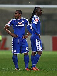 Thuso Phala with Reneilwe Letsholonyane of SuperSport United during the 2016 Premier Soccer League match between Supersport United and The Free Stat Stars held at the King Zwelithini Stadium in Durban, South Africa on the 24th September 2016<br /> <br /> Photo by:   Steve Haag / Real Time Images