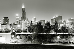 Chicago skyline at night high resolution photo with downtown city buildings and Lake Share Drive. Photo was taken in late 2011.