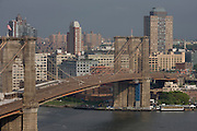 Aerial view of Brooklyn Bridge in New York City.
